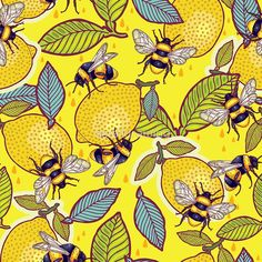 """""""Yellow lemon and bee garden."""" Photographic Prints by smalldrawing 