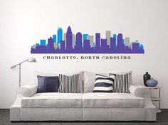 Home city in Hornets colors Charlotte North Carolina, Charlotte Nc, Diy Christmas Fireplace, Charlotte Skyline, Fun Stuff, Geek Stuff, City Sky, Charlotte Hornets, Removable Wall