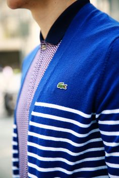 Lacoste #blue sweater with stripes for #Freshboy