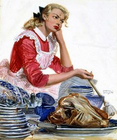 A thankful housewife faced with the aftermath of a holiday meal. ~ Illustration by Martha Sawyers, ca. 1940s.