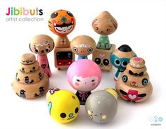 Jibibuts artist collection - featuring wooden toys created by 12 contemporary artists!