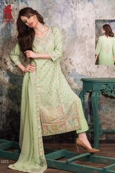 Designer Embroidered Green Banarasi Cotton Salwar Kameez