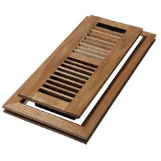 4 in. x 10 in. Wood Natural Oak Louvered Design Flush Mount Floor Register Made of high-quality oak wood with lacquer finish for durability Damper box lets you control the airflow Attaches to 4 in. x 10 in. Floor Vent Covers, Air Vent Covers, Natural Oak Flooring, Maple Floors, Post And Beam, Floor Design, Bed Design, Wood Slats, Floor Decor