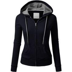 J.TOMSON Womens Athletic Long Sleeve Zip-Up Hoodie (225 ARS) ❤ liked on Polyvore featuring tops, hoodies, jackets, sweaters, outerwear, sweatshirt hoodies, zip up top, long sleeve tops, hooded sweatshirt and zip up hoodie