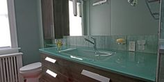 Picture this Glass Vanity top in your bath! Glass Countertops, Bathroom Countertops, Bathroom Sinks, Bathroom Ideas, Glass Vanity, Custom Glass, Glass Company, Bath Remodel, Home Remodeling