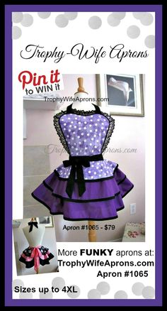 ☀ Apron #1065- Purple & white polka dots & deep purple retro hostess apron for women. By-the-way, take a look at the little photo... that is what the back of my aprons look like.  They look great to go out when wearing leggings and a tank top under.  HUGE selection at https://www.facebook.com/TrophyWifeAprons   ☀ ☀ PIN to WIN  ☀ ☀ CLICK HERE for details==> https://sites.google.com/site/trophywifeaprons