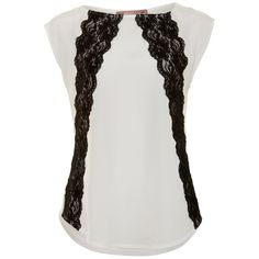 A|Wear White Lace Panel Woven Front Top ($32) ❤ liked on Polyvore