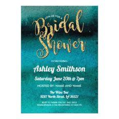 Bridal Shower Invite Watercolor Teal Blue Aqua - invitations custom unique diy personalize occasions