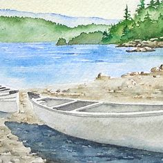 Original Painting - White Canoe, Deep Cove, North Vancouver