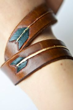 Feather and Arrow double wrap tooled leather bracelet, gold, blue and brown…