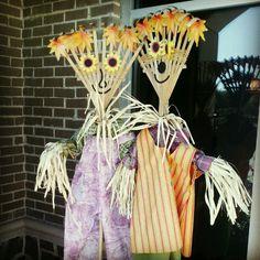 Leaf and rake scarecrow