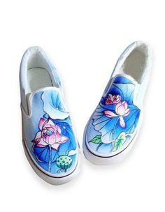 Pretty Blue Canvas TPR Sole Painted Shoes For Women