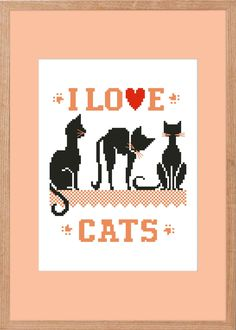 Buy one get one free! Easy Cross, Simple Cross Stitch, Cross Stitch Designs, Cross Stitch Patterns, Picture Cat, Cross Stitch Animals, Love Messages, Digital Pattern, I Love Cats