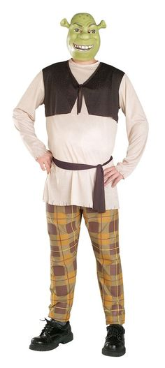 Shrek Mask, shirt with attached vest, pants and waist sash.