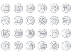Vector line art symbols isolated on white by Icons Factory