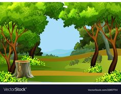 Green forest scene background Premium Ve. Scenery Background, Forest Background, Photo Background Images, Photo Backgrounds, Vector Background, Tree Photography, Photography Backdrops, Forest Cartoon, Art Drawings For Kids