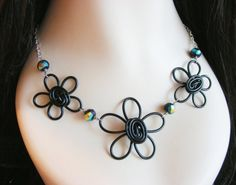 Triple Daisy and Crystal Necklace  Choose by RefreshingDesigns, $26.00