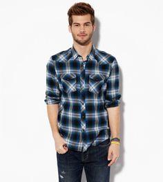 Navy AE Plaid Western Shirt