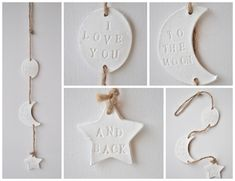I love you to the moon and back wall hanging - moon and star decor, jute rope decoration, clay decor nursery, nursery moon star, to the moon by InTheHouseHandmade on Etsy https://www.etsy.com/listing/515823509/i-love-you-to-the-moon-and-back-wall