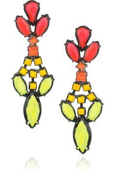 Tom Binns  Fauve hand-painted Swarovski crystal drop earrings