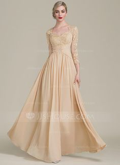 [US$ 157.49] A-Line/Princess Sweetheart Floor-Length Chiffon Lace Mother of the Bride Dress With Ruffle Beading
