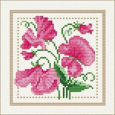 April - Sweet Pea, Project 2010 - Flower of the Month, designed by  Ellen Maurer-Stroh, from EMS Cross Stitch Design.