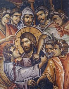Judas kissing the Christ. Icon in the Mount Athos monasteries. Byzantine Icons, Byzantine Art, Religious Icons, Religious Art, Orthodox Catholic, Holy Week, Jesus Is Lord, Orthodox Icons, Medieval Art