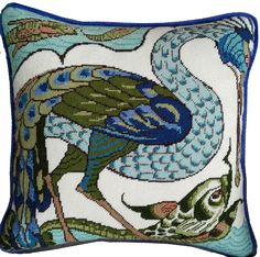 William de Morgan Needlepoint kit Heron & Dolphin