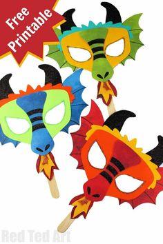 diy dragon mask printables new years