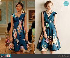 KC's teal floral v-neck dress on KC Undercover.  Outfit Details: http://wornontv.net/53355/ #KCUndercover