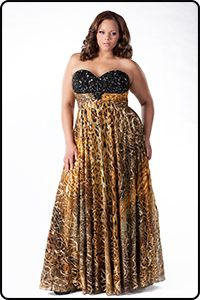 d8c2aa8a46 TE1464 is a gorgeous Animal  print plus size  dress from Sydney s Closet  Tease collection. Gold Evening GownsEvening ...