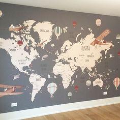 Little Hands Wallpaper Boys Bedroom Decor, Baby Room Decor, Nursery Room, Map Monde Deco, World Traveler Nursery, Little Hands Wallpaper, Creative Kids Rooms, Kids Room Paint, Map Wallpaper