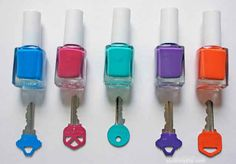 Color-code your keys to make sure big kids can let themselves in after school with ease.