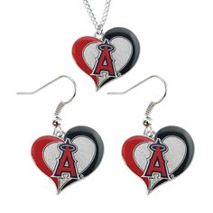 Aminco MLB Sports Team Logo Necklace and Dangle Earring Charm