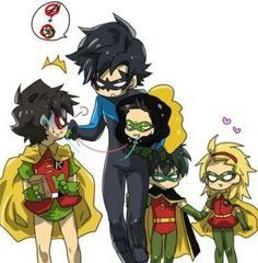 Jason Todd. Dick Grayson. Tim Drake. Damian Wayne. Stephanie Brown. Bat kids. Bat family.