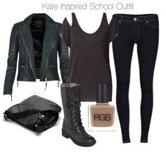 Zara embellished t shirt / AllSaints blue leather jacket / 2nd One reversible jeans, $76 / Rocket Dog tall lace up boots / Lori's Shoes pocket pouch / RGB nail polish