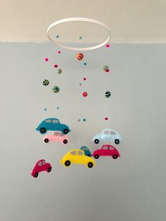 VW Bug mobile for baby's nursery, made by nodakademic.