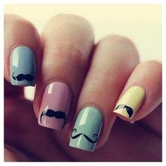 Mustache pastel nails