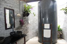 great play between polished and matte textures Spa Interior Design, Spa Design, Interior Design Inspiration, Design Ideas, Bamboo Sofa, Bali House, Outdoor Bathrooms, Bali Fashion, Sun