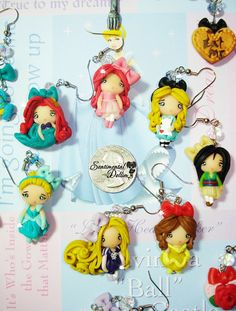 Disney Princess Collection, Disney Princess Jewelry, Kawaii Polymer Clay Earrings, Disney Princess Earrings on Etsy, $25.00