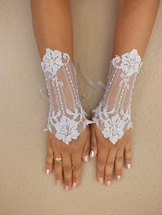 Wedding Glove white lace gloves Fingerless Glove by WEDDINGHome, $30.00