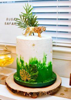 Modern Jungle Safari Cake with Tiger Topper