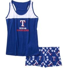 MLB Women's Texas Rangers Tank Top and Shorts Set, Size: Large, Blue