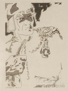 Senlatviešu karavīrs, papīrs, grafika, Vidbergs Sīgismunds (1890 - 1970), 20 x 15 cm