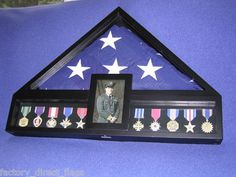Burial Flag Display Case Casket Flag Display Military Medal Display Black 5x9 | eBay