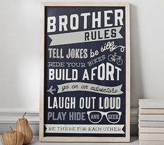 Brother Rules Sentiment Art | Pottery Barn Kids