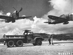 """P-47 Thunderbolts from the 318th Fighter Group taking off from East Field on Saipan, Marianas Islands in October 1944. Lead ship: """"Big Squaw"""" Republic-Evansville P-47D-20-RA Thunderbolt s/n 43-25327 19th FS, 318th FG, 7th AF Assigned to John """"Jack"""" H. Payne."""