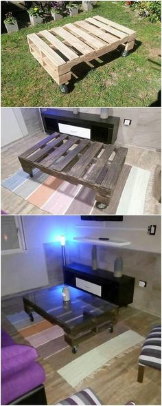 This interesting wood pallet recycling project is a form of wood pallet coffee table that is set with the designing of wooden planks. You can purposely make this coffee table to be perfect install in your lounge house area. The table customize the black shading hues effect.