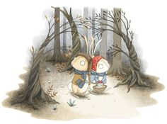 Hansel and Gretal illustration by Emma Allen. Hansel and Gretal are re-imagined as bunnies lost in the woods! Emma Allen, Children's Book Illustration, Illustration Styles, Lost In The Woods, Painting & Drawing, Childrens Books, Illustrator, Creatures, Christmas Ornaments