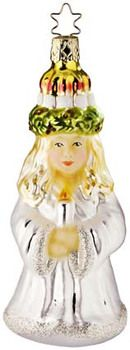 "Santa Lucia glass ornament.  5-1/4"" from tip of cap to bottom of ornament. In Heirloom presentation box.  Inge Glas ornaments are created from new and antique molds. Mouth Blown, Hand-Painted. Made in Neustadt, Germany. Available at www.mygrowingtraditions.com"